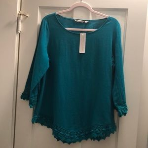 New with tags, lovely vivid teal Rialto Gauze Top